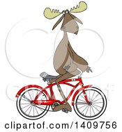 Cartoon Clipart Of A Moose Sitting On Handelbars And Riding A Bicycle Backwards Royalty Free Vector Illustration by djart