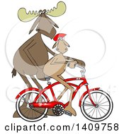 Cartoon Clipart Of A Moose Father Teaching His Son How To Ride Bicycle Royalty Free Vector Illustration by djart