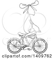 Cartoon Clipart Of A Black And White Lineart Moose Sitting On Handelbars And Riding A Bicycle Backwards Royalty Free Vector Illustration