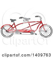 Cartoon Clipart Of A Red Tandem Bicycle Royalty Free Vector Illustration by djart