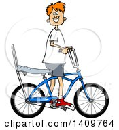 Cartoon Clipart Of A Happy Red Haired Caucasian Boy Riding A Stingray Bicycle Royalty Free Vector Illustration by djart