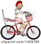 Cartoon Clipart Of A Happy Brunette Caucasian Girl Riding A Stingray Bicycle Royalty Free Vector Illustration