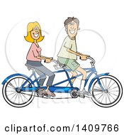 Cartoon Clipart Of A Happy Caucasian Couple Riding A Blue Tandem Bicycle Royalty Free Vector Illustration