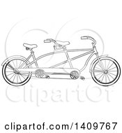Cartoon Clipart Of A Black And White Lineart Tandem Bicycle Royalty Free Vector Illustration by Dennis Cox