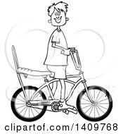 Cartoon Clipart Of A Black And White Lineart Happy Boy Riding A Stingray Bicycle Royalty Free Vector Illustration