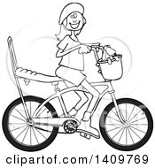 Cartoon Clipart Of A Black And White Lineart Happy Girl Riding A Stingray Bicycle Royalty Free Vector Illustration