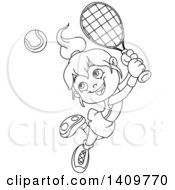 Clipart Of A Black And White Lineart Happy Little Girl Playing Tennis Royalty Free Vector Illustration