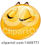 Clipart Of A Yellow Smiley Face Emoji Emoticon Grinning With Closed Eyes Royalty Free Vector Illustration