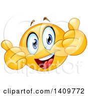 Clipart Of A Yellow Smiley Face Emoji Emoticon Giving Two Thumbs Up Royalty Free Vector Illustration
