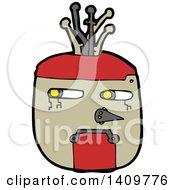 Clipart Of A Cartoon Robot Face Royalty Free Vector Illustration