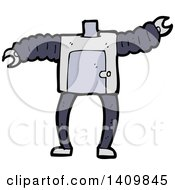 Clipart Of A Cartoon Headless Robot Body Royalty Free Vector Illustration