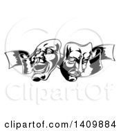 Clipart Of Black And White Comedy And Tragedy Theater Masks On A Ribbon Royalty Free Vector Illustration