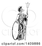 Clipart Of A Black And White Engraved Athena Britannia With A Trident And Shield Royalty Free Vector Illustration by AtStockIllustration