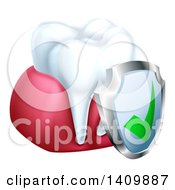 Clipart Of A 3d White Tooth And Gums With A Protective Dental Shield Royalty Free Vector Illustration