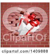 Clipart Of A 3d Gift Box Breaking Through A Brick Wall Royalty Free Vector Illustration