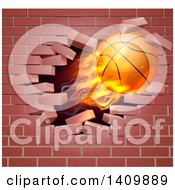 Clipart Of A 3d Flying And Blazing Basketball With A Trail Of Flames Breaking Through A Brick Wall Royalty Free Vector Illustration
