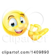 Clipart Of A 3d Happy Yellow Male Smiley Emoji Emoticon Face Gesturing Ok Or Perfect Royalty Free Vector Illustration