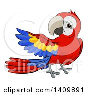 Clipart Of A Cartoon Scarlet Macaw Parrot Presenting Royalty Free Vector Illustration by AtStockIllustration