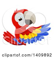 Clipart Of A Cartoon Scarlet Macaw Parrot Pointing Around A Sign Royalty Free Vector Illustration