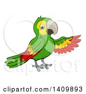 Clipart Of A Cartoon Green Macaw Parrot Presenting Royalty Free Vector Illustration