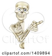 Happy Human Skeleton Pointing Around A Halloween Sign