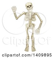 Clipart Of A Happy Cartoon Skeleton Character Waving Royalty Free Vector Illustration by AtStockIllustration