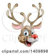 Clipart Of A Happy Rudolph Red Nosed Reindeer Face Royalty Free Vector Illustration