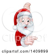 Cartoon Happy Christmas Santa Claus Pointing Around A Sign