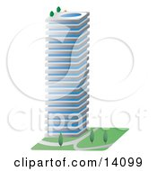 Commercial City Building With A Swimming Pool On The Roof Clipart Illustration