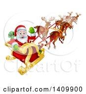 Team Of Magic Reindeer Flying Santa In A Sleigh