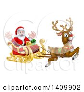 Clipart Of A Red Nosed Reindeer Rudolph Flying Santa In A Sleigh Royalty Free Vector Illustration