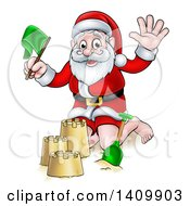 Clipart Of A Cartoon Happy Christmas Santa Claus Making A Sand Castle Royalty Free Vector Illustration