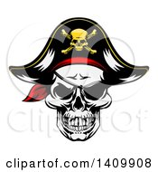 Clipart Of A Pirate Skull Wearing A Patch And Captain Hat Royalty Free Vector Illustration