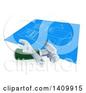 Clipart Of Home Blueprints With A Wrench And Hammer Royalty Free Vector Illustration