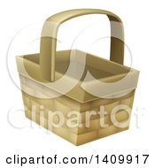 Clipart Of A Wicker Basket Royalty Free Vector Illustration