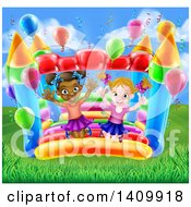 Clipart Of A Cartoon Happy White And Black Girls Jumping On A Bouncy House Castle In A Park Royalty Free Vector Illustration by AtStockIllustration