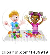 Clipart Of A Cartoon Happy Black Girl Kneeling And Painting Artwork And White Boy Playing With Toy Blocks Royalty Free Vector Illustration