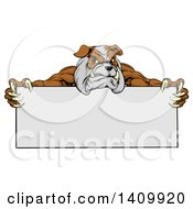 Clipart Of A Brown And Gray Aggressive Bulldog Monster Mascot Holding A Blank Sign Royalty Free Vector Illustration