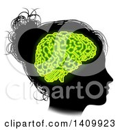 Clipart Of A Black Silhouetted Girls Head In Profile With Green Glowing Circuit Brain Royalty Free Vector Illustration