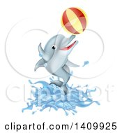 Clipart Of A Cute Happy Dolphin Jumping And Playing With A Ball Royalty Free Vector Illustration by AtStockIllustration