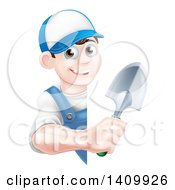 Clipart Of A Happy Young Brunette White Male Gardener In Blue Holding A Shovel Around A Sign Royalty Free Vector Illustration