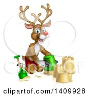 Clipart Of A Happy Rudolph Red Nosed Reindeer Making A Sand Castle Royalty Free Vector Illustration