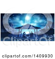 Clipart Of A Blue Toned Nativity Scene With Animals Wise Men The City Of Bethlehem And Star Of David Royalty Free Vector Illustration