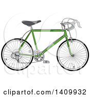 Clipart Of A Green 10 Speed Bicycle Royalty Free Vector Illustration