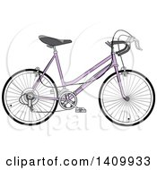 Clipart Of A Purple 10 Speed Bicycle Royalty Free Vector Illustration