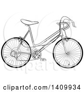 Clipart Of A Black And White 10 Speed Bicycle Royalty Free Vector Illustration