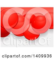 Background Of 3d Glossy Red Spheres Or Bubbles Over Red And Gray