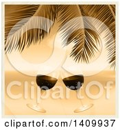 Clipart Of A 3d Sepia Toned Scene Of Clinking Wine Glasses Against The Ocean Under Palm Tree Branches Royalty Free Vector Illustration