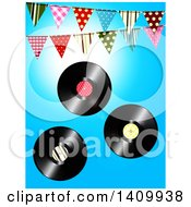 3d Vinyl Records And Patterned Bunting Banners Against Blue Sky