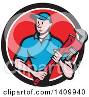 Clipart Of A Retro Cartoon White Male Plumber Holding A Monkey Wrench In A Black White And Red Circle Royalty Free Vector Illustration